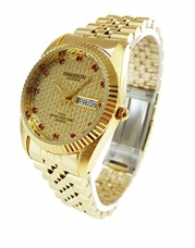 Swanson Japan Men's Gold Day-Date Watch Red Stone Gold Dial