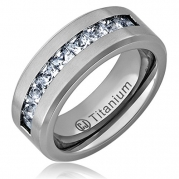 Cavalier Jewelers 8MM Men's Titanium Ring Wedding Band with Flat Brushed Top and Channel Set CZ [Size 9.5]