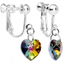 Body Candy Handcrafted Light Vitrail Heart Clip Earrings Created with Swarovski Crystals