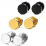 Areke Mens Stainless Steel Screw Stud Earrings Unisex Womens Ear Plugs Tunnel Jewelry 3 Pairs Color Black Gold Silver