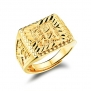 OPK Jewelry 6mm Width 18k Yellow Gold Plated Mens Gold Carving Ring Property in Chinese Fashion Mens Jewelry, Adjustable
