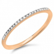 0.08 Carat (ctw) 10k Rose Gold Round Diamond Dainty Anniversary Wedding Band Stackable Ring (Size 4)