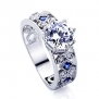 Sterling Silver Rhodium Plated Octagon Cut CZ, Blue Stone Accent Engagement Ring ( Size 5 to 9 ) - 7