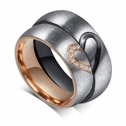 His or Hers (Priced Separate) Korean Style Titanium Stainless Steel Couple Heart in Love Wedding Bands Set Ring with Cubic Zirconia Stone-JCR051 (men's size 8)
