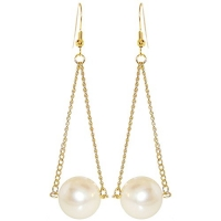 18mm Imitation Pearl On 2 Chains Earrings, in Imitation Pearl with Gold Tone Finish