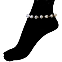 Nickel Free Vintage 8mm Imitation Pearl and Chain Anklet, USA! Ours Alone! 9 + 1 Ext., in Imitation Pearl with Gold Tone Finish