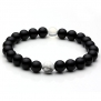 Top Plaza Unisex 8mm Agate Opalite Tiger Eye's Stone Beaded Bracelet, Healing Energy Balance Beads, 6-7 Inches (Black Agate)
