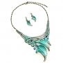 PammyJ Silvertone Aqua Blue Leaf Statement Necklace and Earrings Set, 16 + 3 Ext.