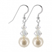 SCER357 Sterling Silver Simulated Pearl and AB Drop Earrings Made with Swarovski Crystal Elements
