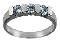 Aqua Trio Ring-Sizes 1-2-3-4-Silver Color Imitation March Birthstone Ring for Small Fingers-Women-Teens