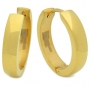 Stainless Steel Curved Face Round Hoop Earrings Polish Gold 20mm