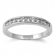 Rhodium Plated Brass Wedding & Engagement Ring Clear Round CZ Channel Set Wedding Band 3MM ( Size 5 to 10) Size 6
