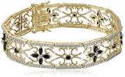 Yellow Gold Plated Sterling Silver Sapphire and Diamond Accent Flower Bracelet, 7.5