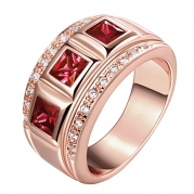 [Eternity Love] Women's Pretty 18K Rose Gold Plated Princess Cut Imitation Ruby CZ Crystal Wedding Engagement Band Rings Best Promise Rings for Her TIVANI Anniversary Collection Jewelry Rings