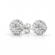 Bling Jewelry White Crystal Ball Stud Earrings Shamballa Inspired 925 Sterling