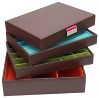Stackers Jewelry Box Storage System - Chocolate Brown with Bright Coloured Soft Lined Interior - 4 Tray Set by LC Designs of London