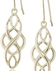 18k Yellow Gold Plated Sterling Silver Celtic Design Oval Dangle Earrings