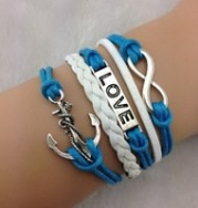 #45 Teal Blue, White & Silver Designer Inspired Multi-strand Cord Bracelet, Faux Leather, Men, Womens, Boys or Girls Bracelet. 3pcs Infinity,anchor & Love Bracelet-antique Silver Bracelet--wax Cords and Imitation Leather Bracelet