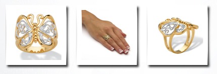 Toscana palmbeach jewelry 18k yellow gold-plated two-tone filigree butterfly ring