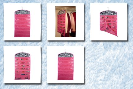 Hot Pink Zebra 40 Zipper Pockets Dual Sides Spacesaving Hanging