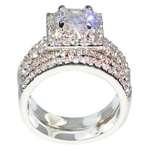 3 Ct Princess Cut Cubic Zirconia CZ Platinum Plated Engagement Bridal Wedding Ring Set 125 Ct